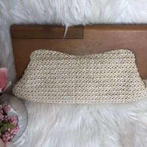 (New!) Unique cream Basketweave clutch with wood